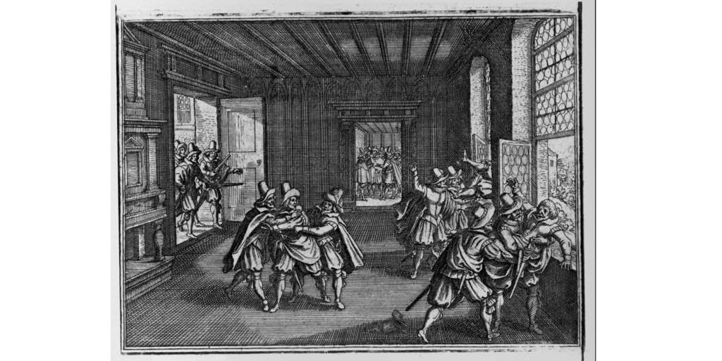 The 1618 Defenestration of Prague, in which four Catholic officials were thrown from a top-floor window of Prague (Hradčany) Castle by Bohemian Protestant activists, starting the Thirty Years' War. (Photo by Library of Congress/Corbis/VCG via Getty Images)