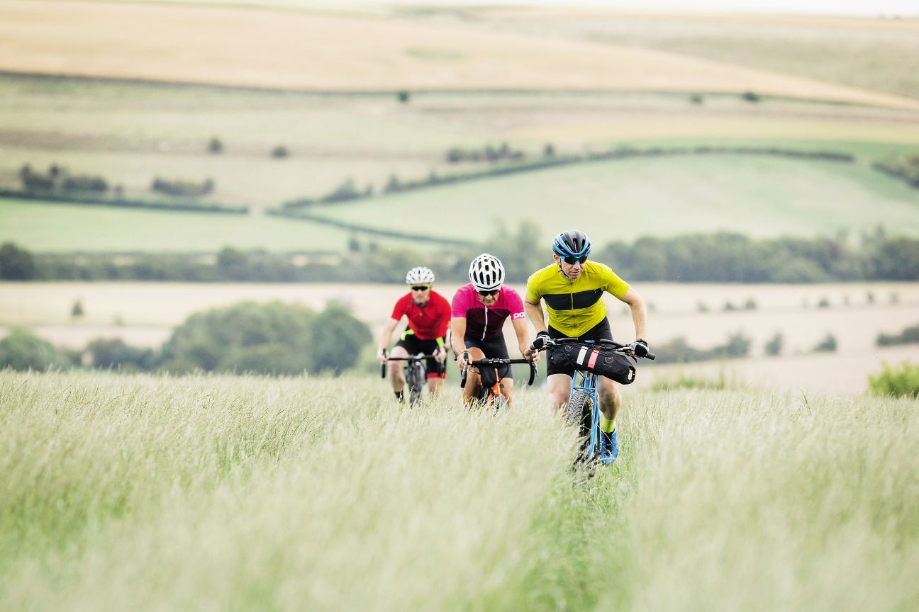 Three adventure bikes riding through a field