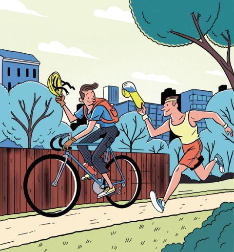 Cartoon showing a runner saluting a cyclist