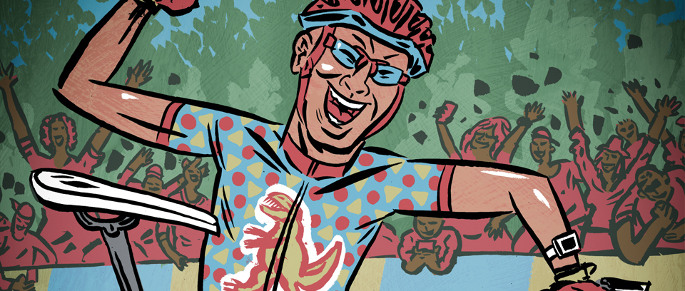 illustration of mountain bike cross country rider