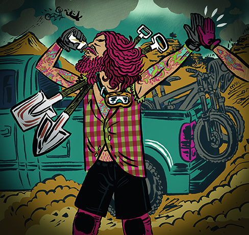 illustration of freeride mountain bike rider
