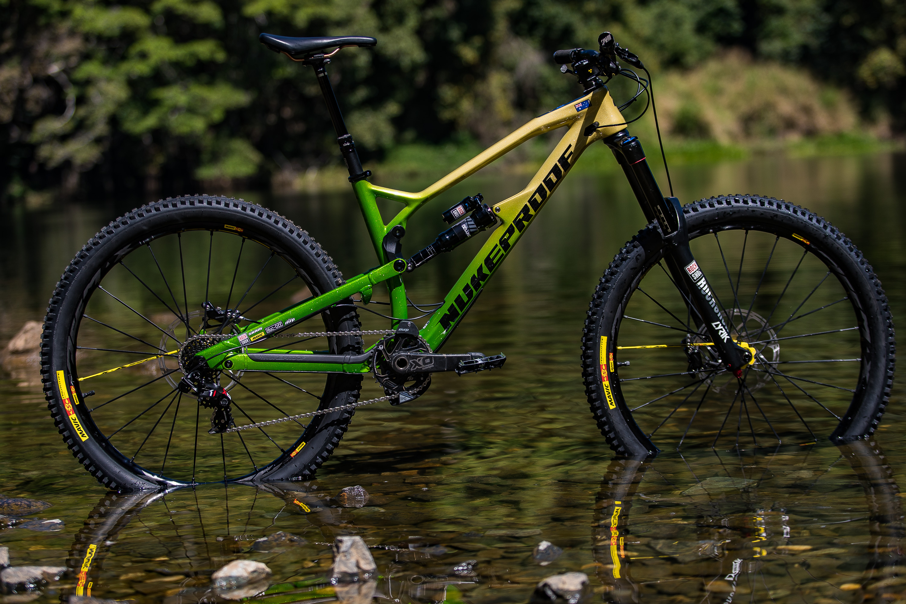 The custom painted Nukeproof Mega that Sam is going to be racing at Worlds this year. Photo: Fraser Britton