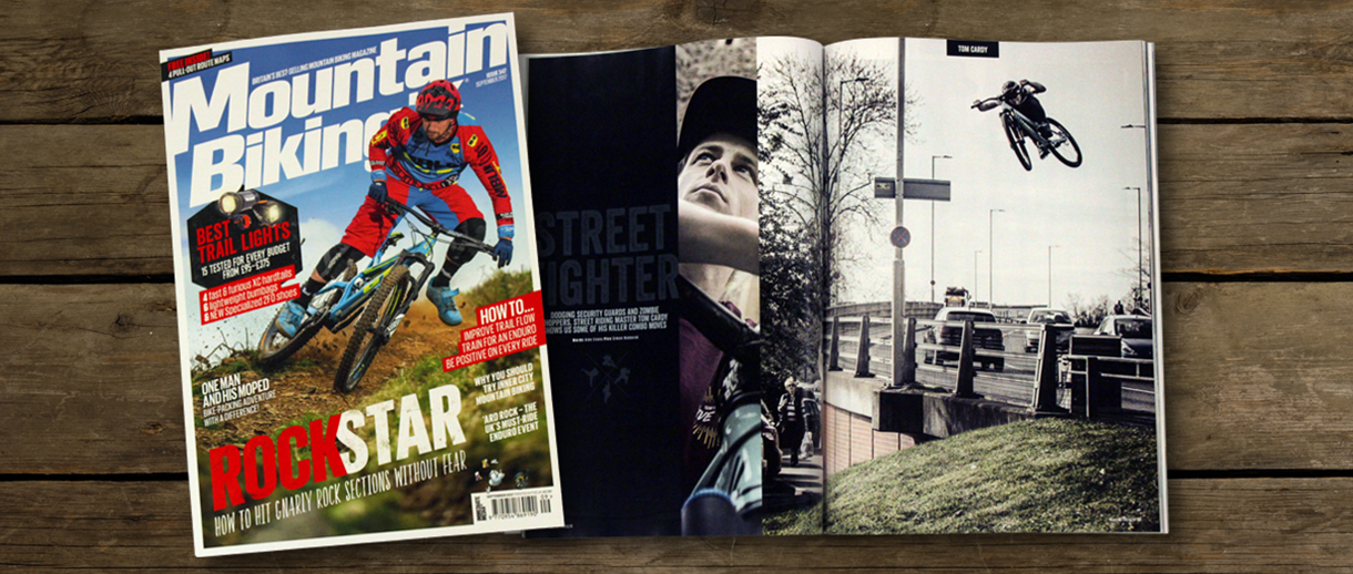Alex Bond is on the cover of mountain biking uk magazine issue 347