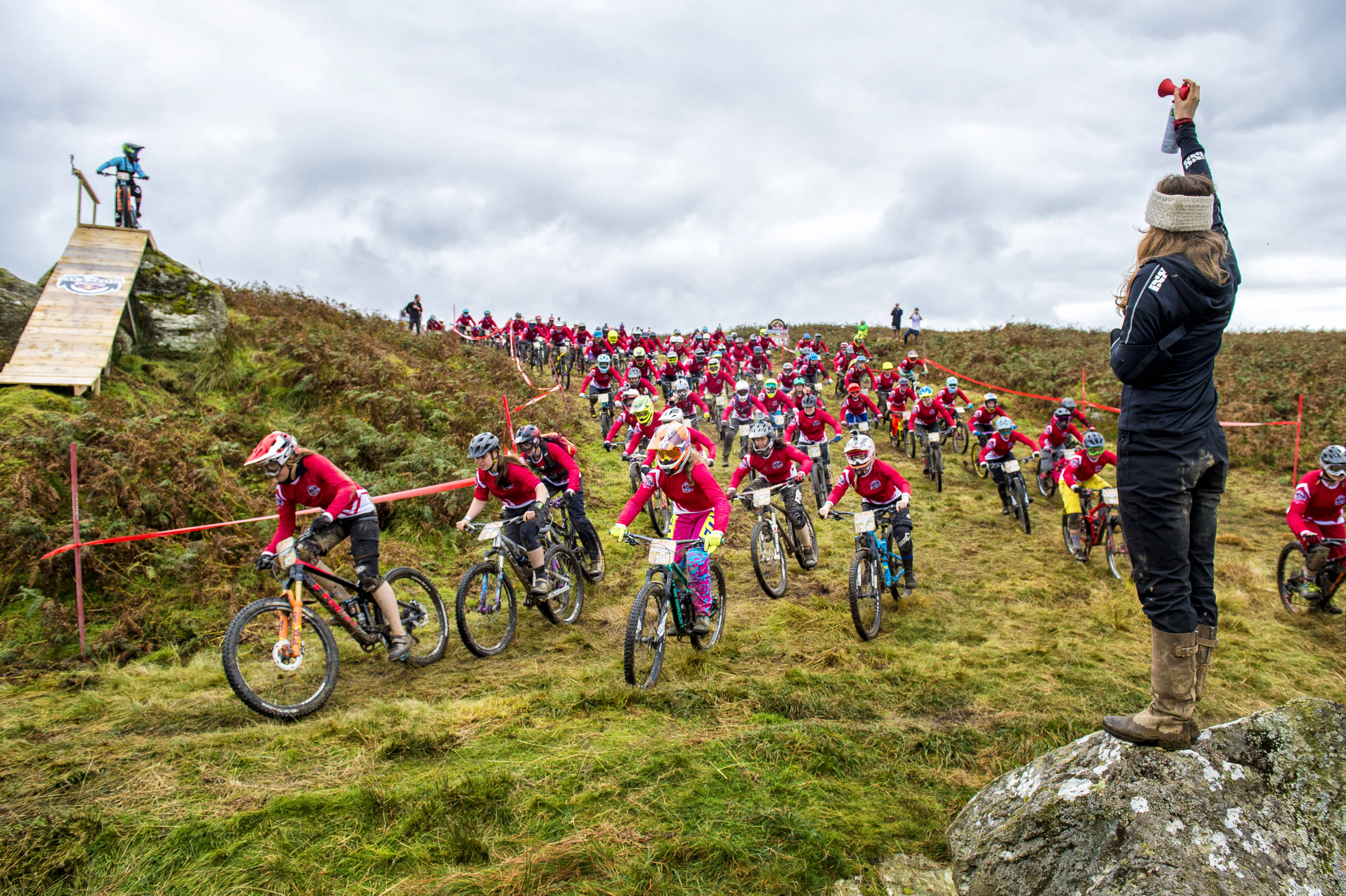 Lots of mountain bikers competing at the Red Bull Fox Hunt