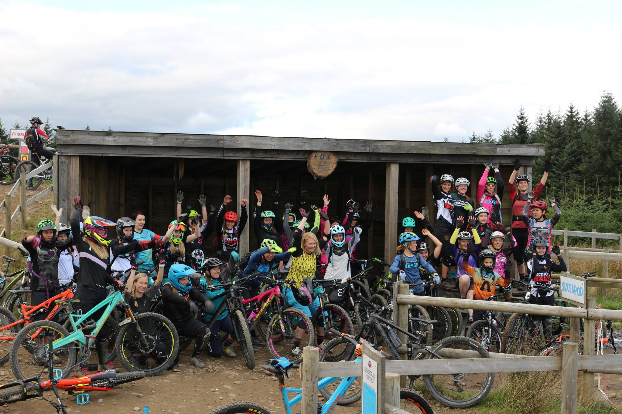women at bikepark wales start hut
