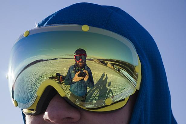 Matt reflected in Tom's goggles
