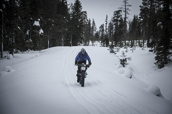 Matt riding through snow on the Rovaniemi in Finalnd