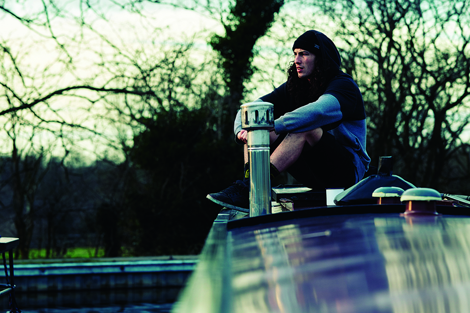 Josh Bryceland on his canal boat