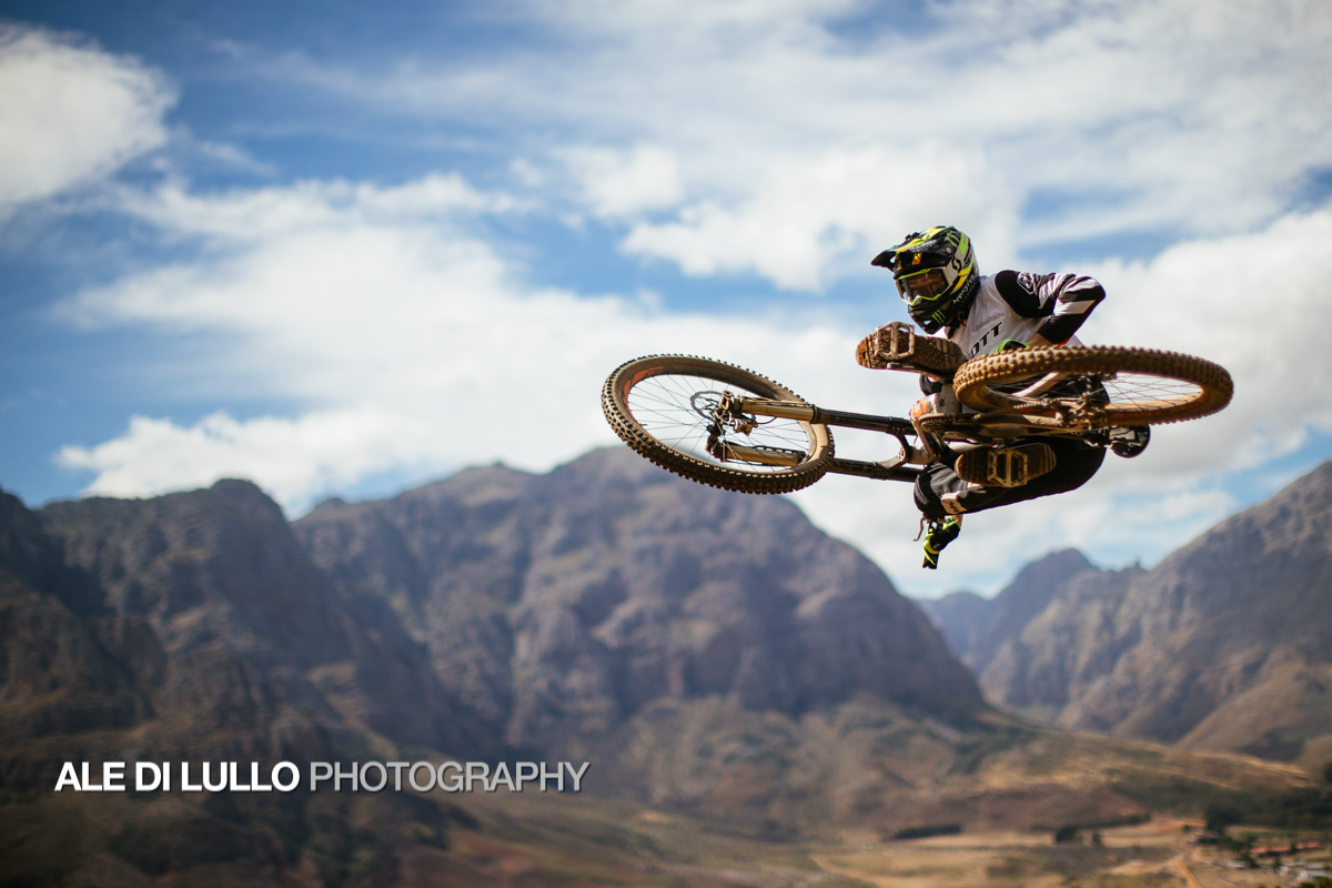Brendan Fairlclough whipping a jump at South Africa's DarkFest 2018